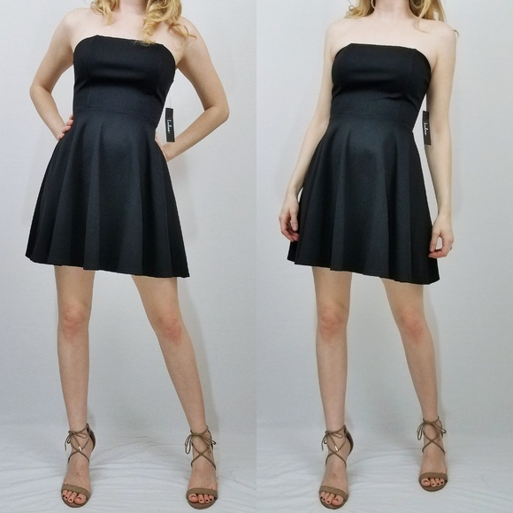 52261de407bf Lulus About a Twirl Black Strapless Skater Dress